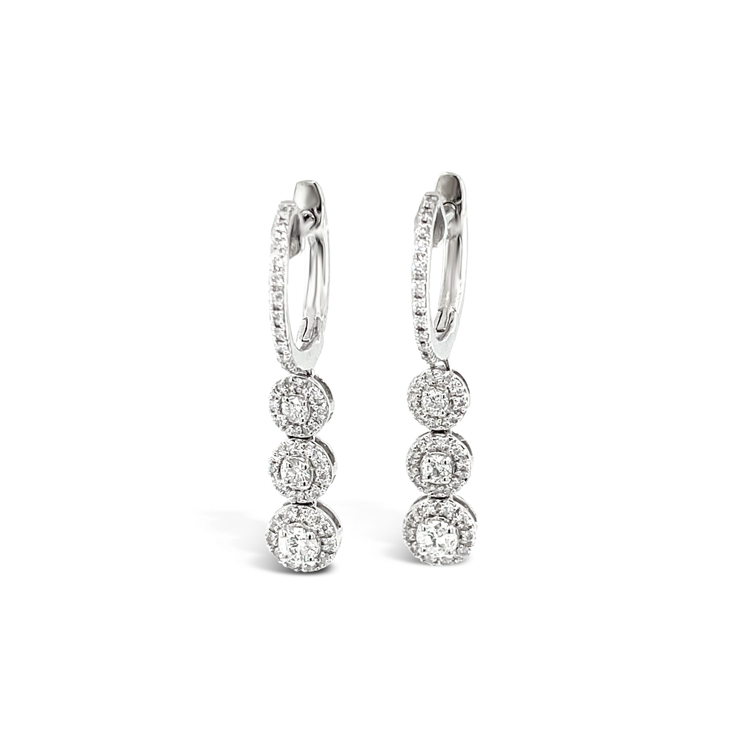 Aretes Triple Illusion con brillantes