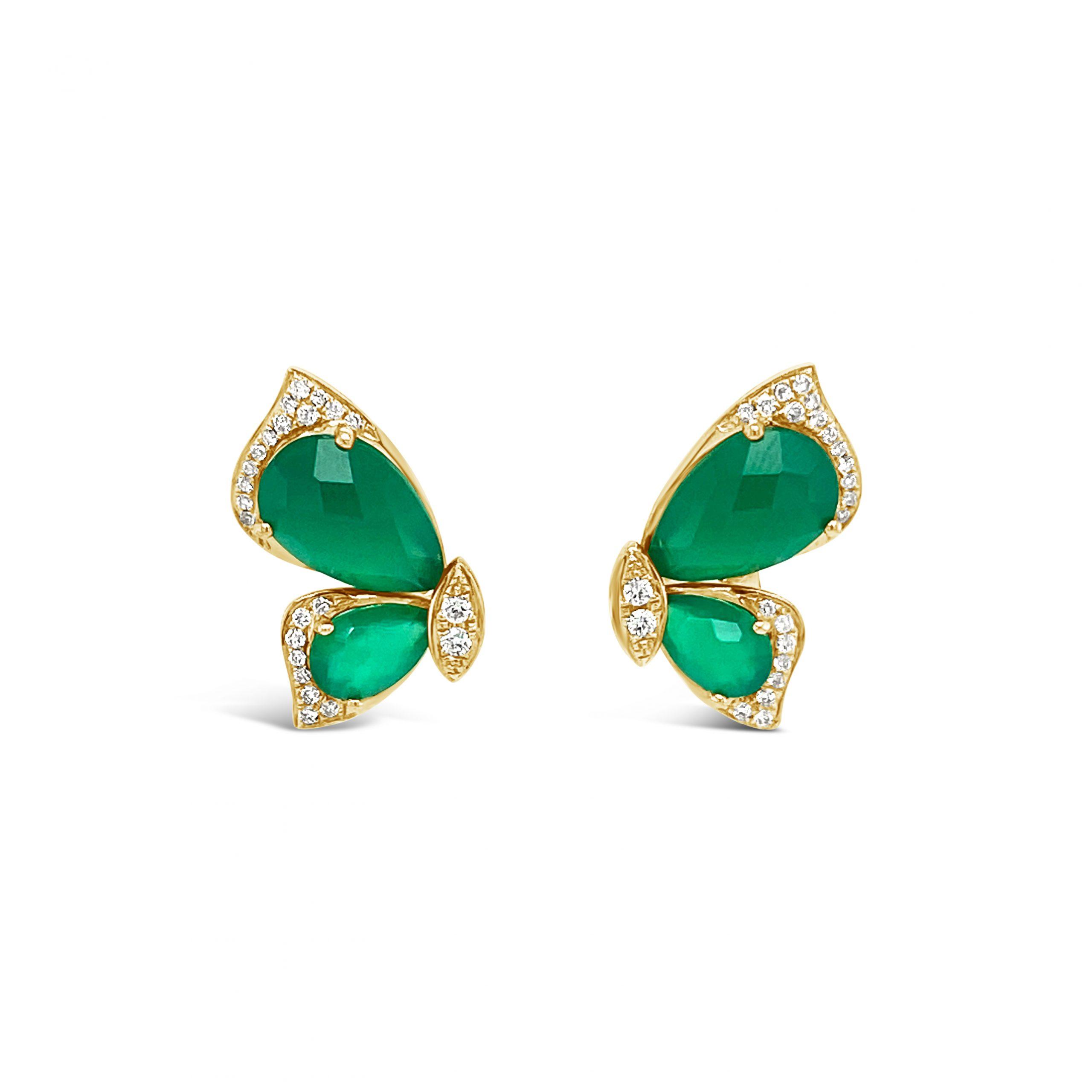 Aretes Mariposa Agata Verde + Brillantes
