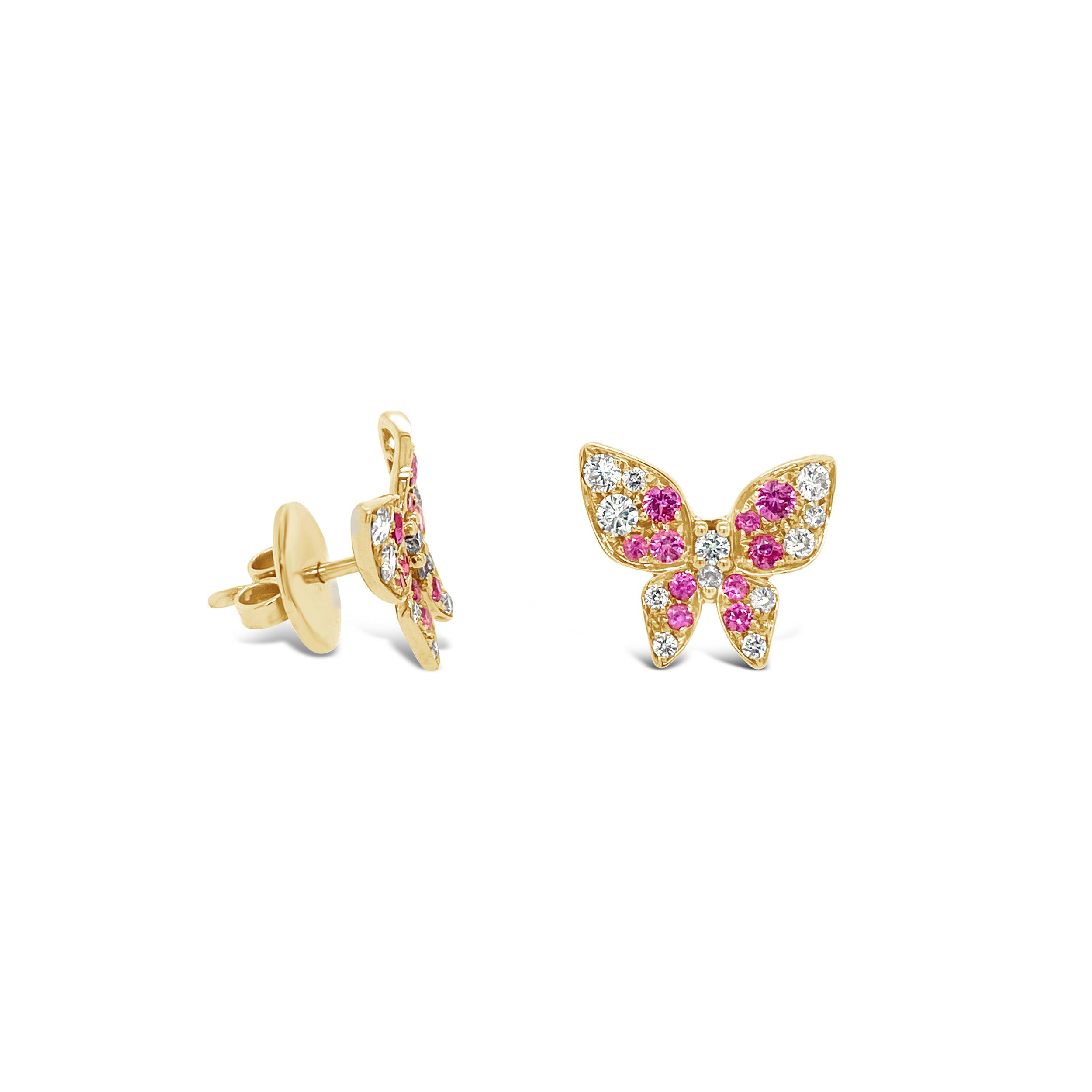 Aretes Farfalle Rosados