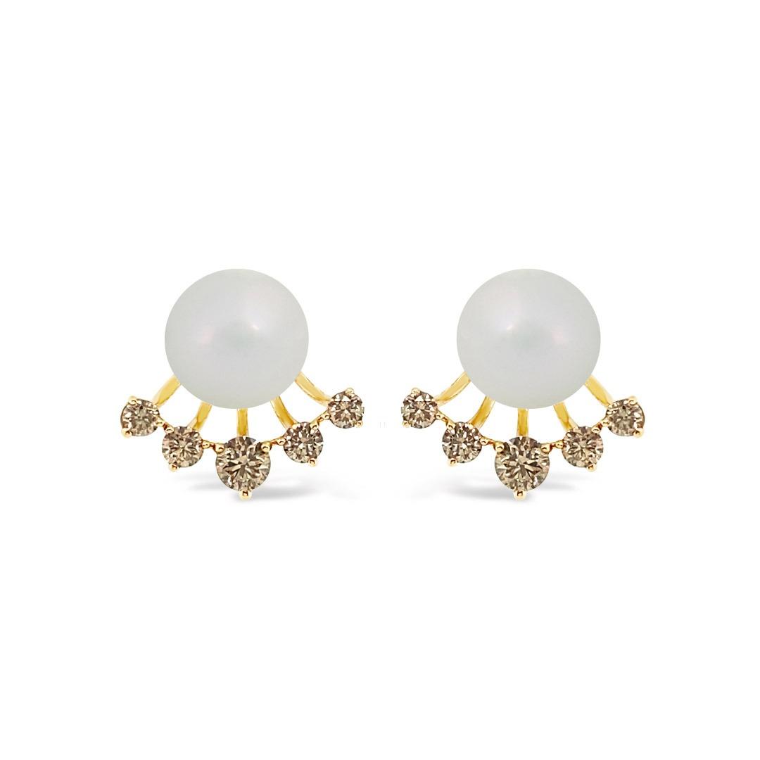 Aretes perla + brillantes